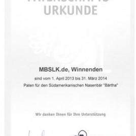 """Patenschaftsurkunde 2013 für die MBSLK-Nasenbären """"BÄRtha"""""""