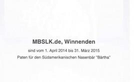"""Patenschaftsurkunde 2014 für die MBSLK-Nasenbären """"BÄRtha"""""""