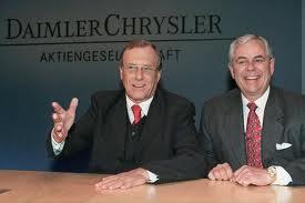 """Hochzeit im Himmel"" - Jürgen E.Schrempp (Daimler-Benz) und Robert Eaton (Chrysler)"
