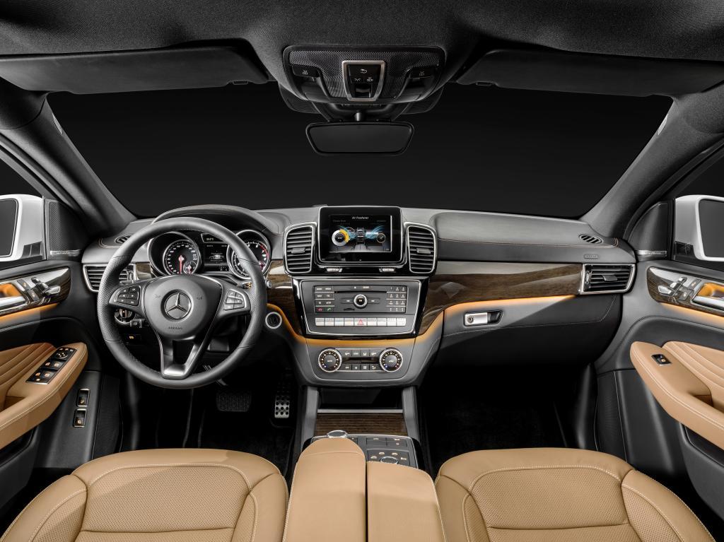 Mercedes-Benz GLE Coupé, Interieur: Leder Sattelbraun / Schwarz, Zierelemente Holz Eukalyptus braun glänzend