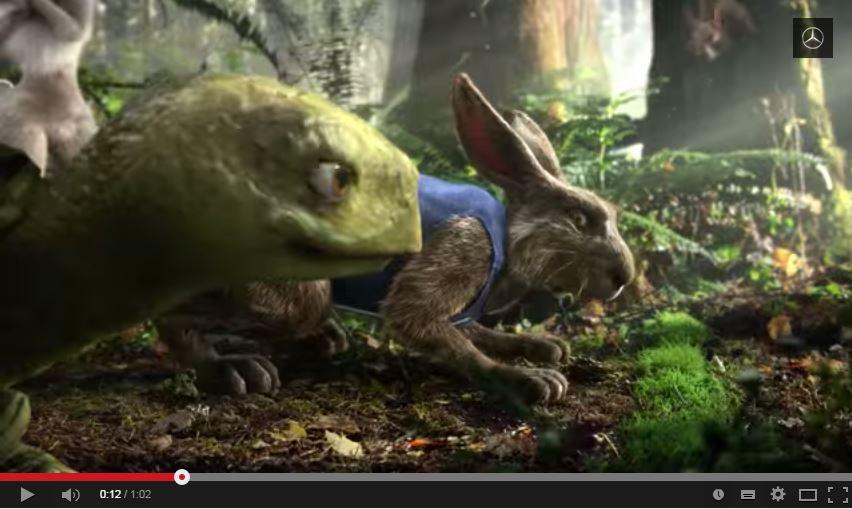 Hase gegen Schildkröte - ein ungleicher Kampf? Nicht unbedingt... (Bild: MBUSA, Youtube Kanal)
