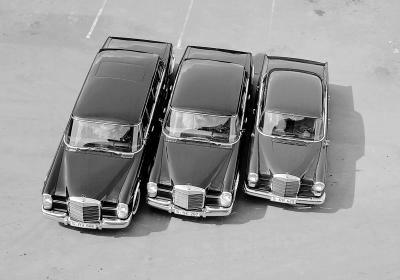 Limousinen im Vergleich Baureihe 110, Typ 600 Limousine und Pullman-Limousine. (Bild: Daimler AG)