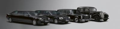 Staatslimousinen im Pullman-Format: Baureihen 220, 140, 100 (Typ 600) und 08 (Typ Nürburg) (Bild: Daimler AG)