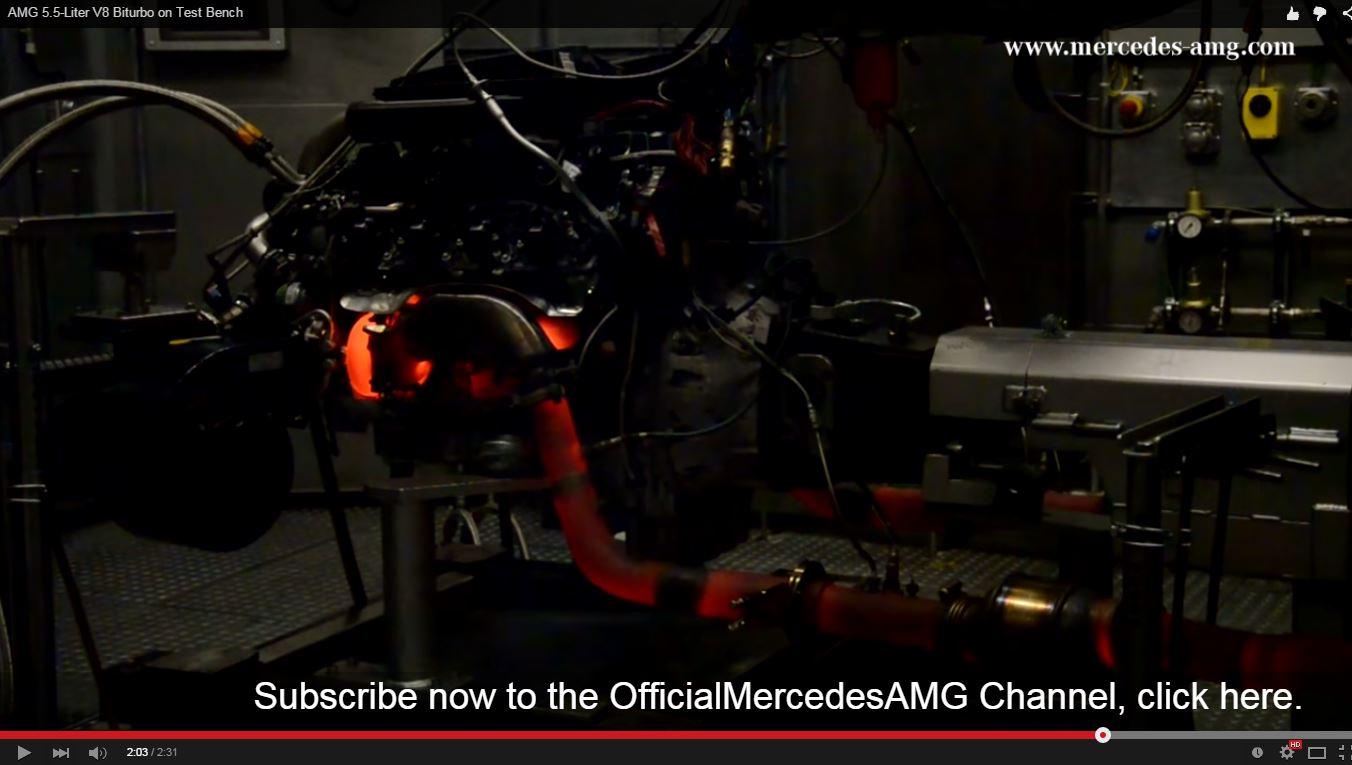 AMG 5.5-Liter V8 Biturbo auf dem Leistungsprüfstand (Bild: Mercedes-AMG Youtube-Channel)