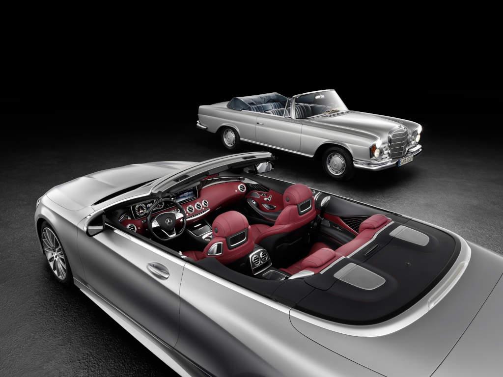 Mercedes-Benz S-Klasse Coupé Cabrio ( A 217 , 2015) und das W 111 Cabriolet aus den 1960er/70er Jahren (Bild: Daimler AG)