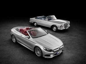 Mercedes-Benz S-Klasse Cabrio von 2015 und das S-Klasse Cabrio der Baureihe W 111 von 1971 (Bild: Daimler AG)
