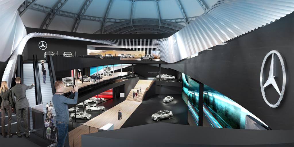 """""""Silver flow"""" in der Frankfurter Messehalle: Mercedes-Benz auf der IAA 2015 (Bild: Daimler AG)"""