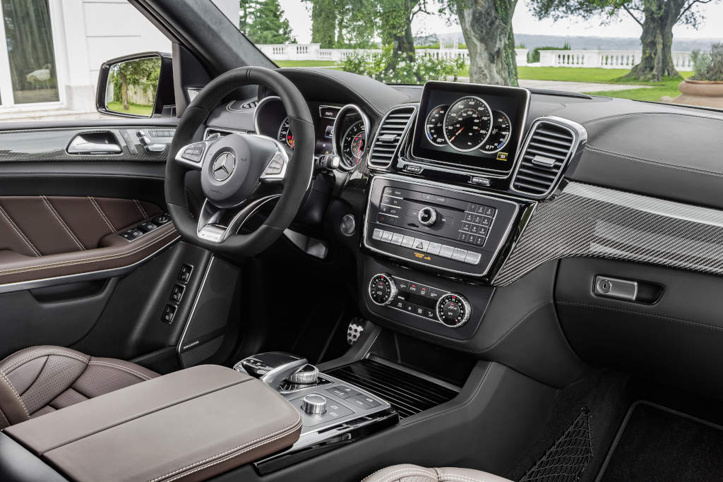 Mercedes-AMG GLS 63 4MATIC, Interieur: Leder Nappa espressobraun, Zierteile: AMG Carbon  (Bild: Daimler AG)