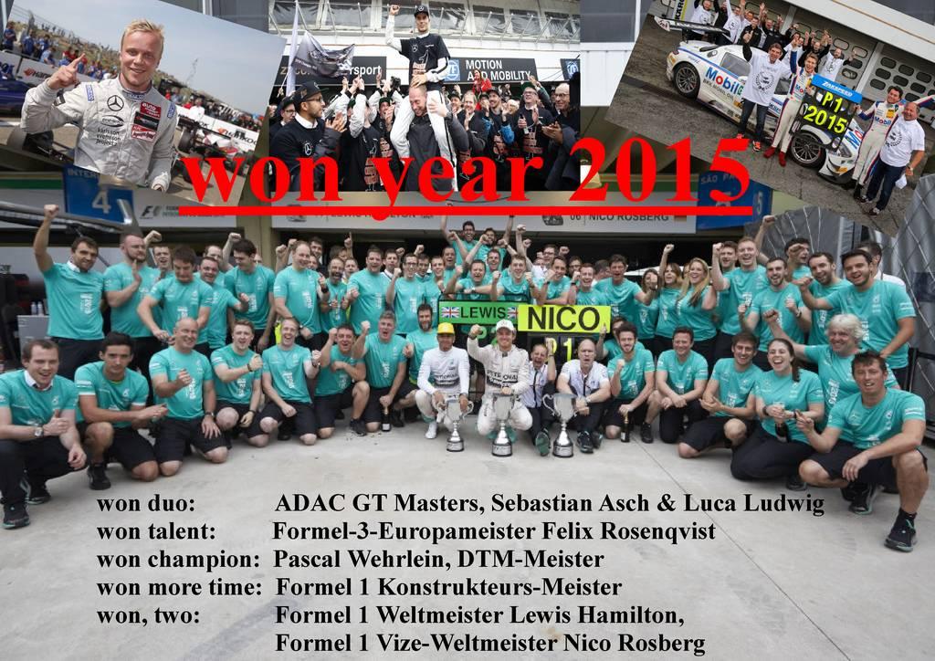 won 2015. Mercedes Motorsport ist erfolgreich in ADAC GT Masters, Formel 3, Formel 1 und DTM (aus Bildern der Daimler AG)