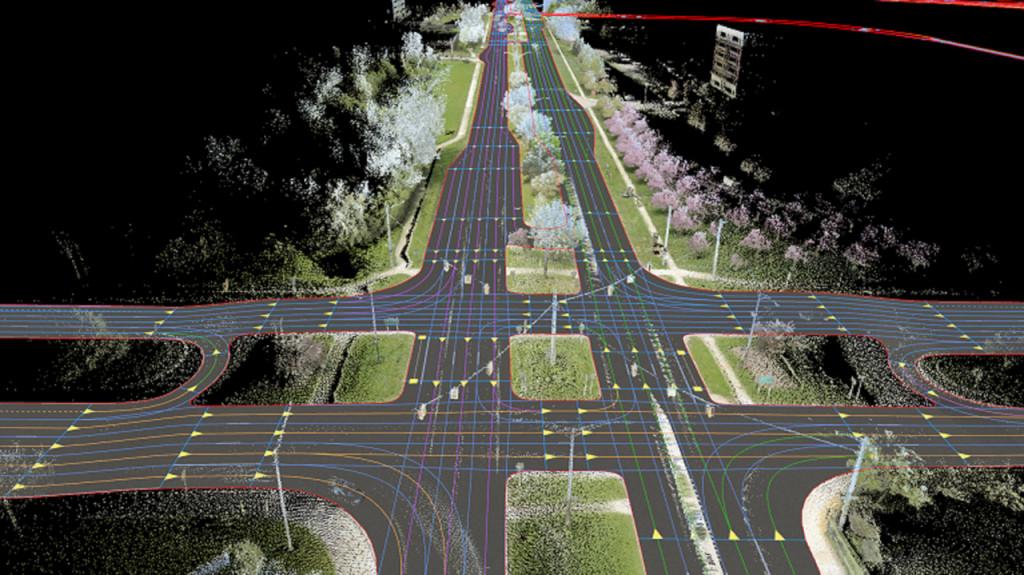 HERE ein Bespiel: Darstellung der hochauflösenden HERE-Karte von der Autobahn in Michigan (Bild: Daimler AG)