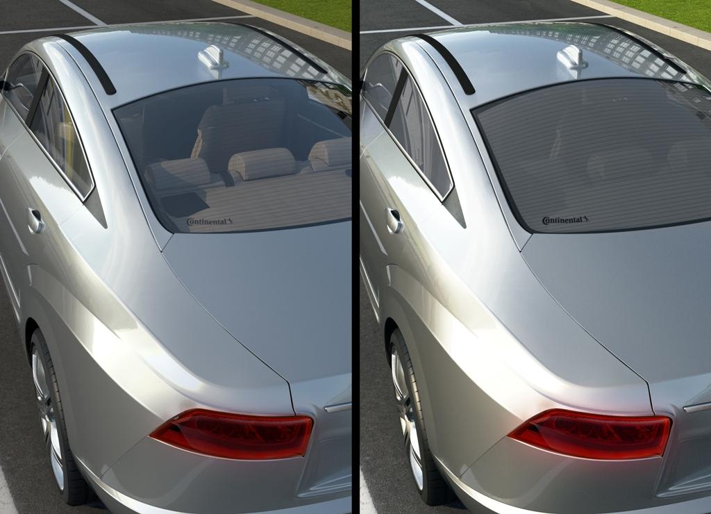 Gezieltes stufenloses Verdunkeln der Scheiben hält Hitze aus dem Fahrzeug fern (Bild: Continental AG)