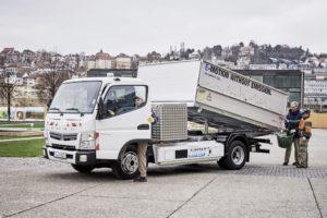 Fuso Canter E-Cell: 150 E-PS sollen im Lieferverkehr und bei der Stadt Stuttgart die Emissionen senken (Bild: Daimler AG)