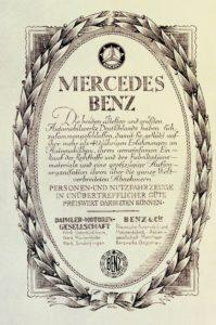 """Urkunde zur Fusion 1926: In die neue Marke Mercedes-Benz bringt das Mannheimer Unternehmen Benz & Cie. neben der in Mannheim ansässigen """"Rheinischen Automobil- und Motorenfabrik"""" auch die """"Benzwerke Gaggenau"""" ein (Bild: Daimler AG)"""