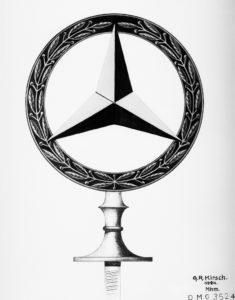 Bekränzter Stern als Kühlerzeichen: Der Stern im Lorbeerkranz, eine Kombination der Markenzeichen der Daimler-Motoren-Gesellschaft und der Firma Benz & Cie., wird beim Patentamt am 18. Februar 1925 als Warenzeichen angemeldet (Bild: Daimler AG)